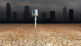 Microphone in Dystopic world Stock Photos