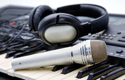 Microphone and ear-phones Stock Image