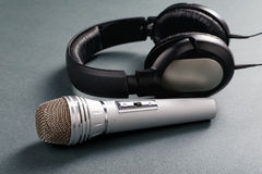 Microphone and ear-phones Royalty Free Stock Images