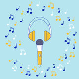 Microphone, earphones and music notes. Line design elements royalty free illustration