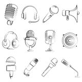 Microphone,  electronic device icons. Set of 16 sketch electronic device icons Stock Photography