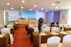Microphone in empty room Stock Photos