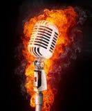 Microphone en incendie illustration stock