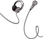 Microphone et écouteurs avec des fils Photos stock