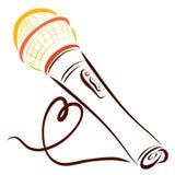 Microphone et corde sous forme de coeur Images libres de droits