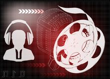 Microphone and filmstrip. On a red background, headphones Royalty Free Stock Photos