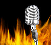 Microphone in the fire Stock Image