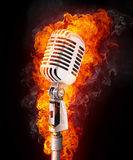 Microphone in Fire Stock Image