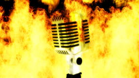 Microphone on fire stock footage