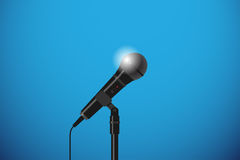 Microphone with floor stand stock illustration