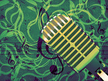 Microphone floral background Royalty Free Stock Photo