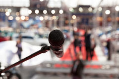 Microphone in focus against blurred background Royalty Free Stock Image