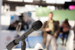 Microphone in focus against blurred background Stock Photography