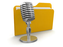 Microphone and Folder (clipping path included) Stock Photos