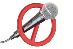 Microphone with forbidden symbol, 3D rendering Stock Photos