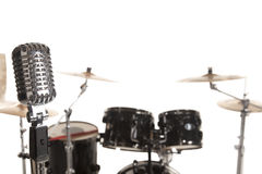 Microphone in front of Bass Drum Kit Royalty Free Stock Images
