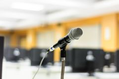 Microphone in front of computer classroom Stock Images