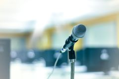 Microphone in front of computer classroom Stock Photo