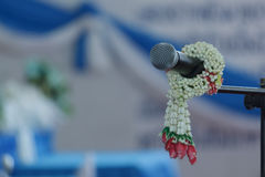 Microphone and garlands Royalty Free Stock Photo