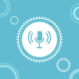 Microphone and Gears. Live Workshop,Tutorial or Webinar Illustration Royalty Free Stock Images