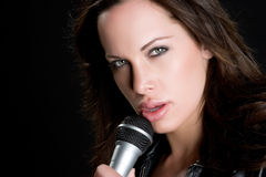 Microphone Girl Royalty Free Stock Photos