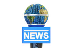Microphone global news, 3D rendering. Isolated on white background Stock Image