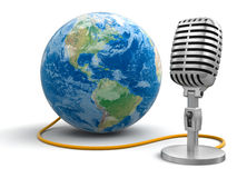 Microphone and Globe (clipping path included) Royalty Free Stock Photo