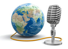 Microphone and Globe (clipping path included) Stock Images