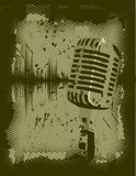 Microphone grunge. Grunge retro microphone vector illustration stock illustration