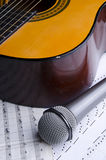 Microphone and guitar royalty free stock photos