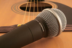Microphone and guitar stock images