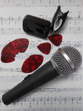 Microphone and guitar accessories Stock Images
