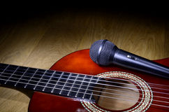 Microphone on guitar Royalty Free Stock Photo