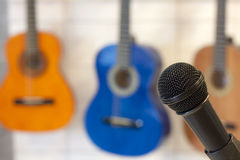 microphone and guitars Royalty Free Stock Images