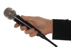 Microphone and hand Royalty Free Stock Images