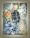 Microphone hand drawn design card Royalty Free Stock Photo