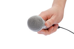 Microphone in a hand Stock Images