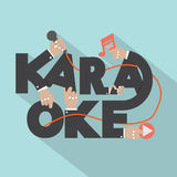 Microphone Hand With Karaoke Typography Design Royalty Free Stock Images