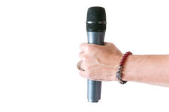 Microphone in hand Royalty Free Stock Image