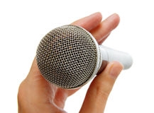 Microphone in hand1 Royalty Free Stock Image