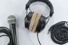 Microphone headphone isolated on white royalty free stock images