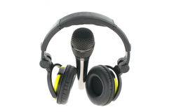 Microphone with headphones Royalty Free Stock Photos