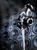 Microphone and headphones Stock Photos