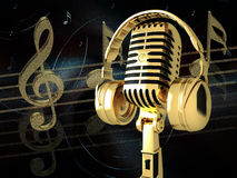 Microphone with headphones Royalty Free Stock Photography