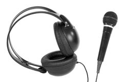 Microphone and headphones Stock Photography