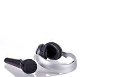 Microphone and headphones Royalty Free Stock Images