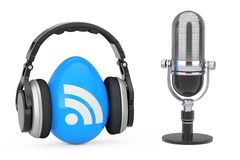 Microphone with Headphones over RSS Podcast Logo Icon. 3d Render. Microphone with Headphones over RSS Podcast Logo Icon on a white background. 3d Rendering Stock Photos