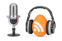 Microphone with Headphones over RSS Podcast Logo Icon. 3d Render. Microphone with Headphones over RSS Podcast Logo Icon on a white background. 3d Rendering Stock Photography