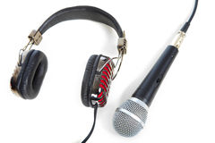 Microphone and headphones Royalty Free Stock Photos