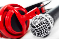 Microphone and headphones Stock Photo